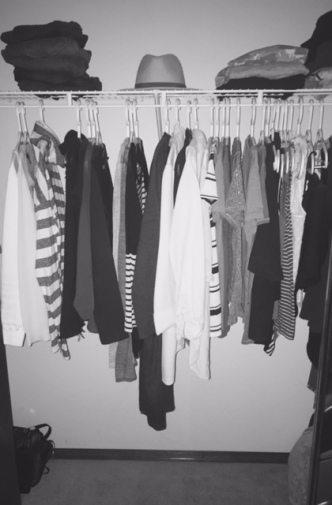 Current closet. Plus 2 drawers (socks, under garments, a couple of PJ's and workout clothing)